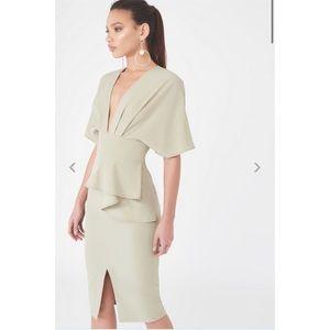 Lavish Alice Kimono Peplum Dress Sage Green 6